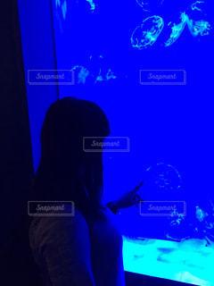 水族館,人物,背中,人,クラゲ,水槽,観る