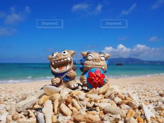 風景,海,空,屋外,砂,ビーチ,かわいい,青空,砂浜,波,沖縄,景色,旅行,旅,日本,夏休み,シーサー,真夏