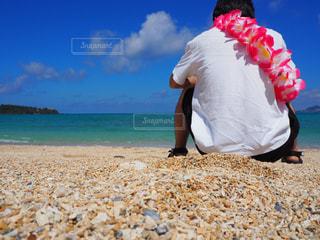 男性,自然,風景,空,花,夏,屋外,太陽,ビーチ,雲,サンゴ,後ろ姿,砂浜,ハイビスカス,海岸,沖縄,山,景色,水平線,光,人物,背中,人,貝,夏休み,快晴,沖縄県,めんそーれ