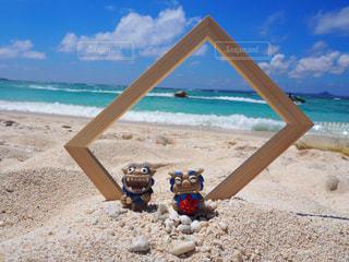 自然,空,夏,屋外,南国,ビーチ,雲,青,砂浜,海岸,フレーム,夏休み,リゾート,シーサー,日中,めんそーれ