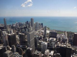 空,雲,アメリカ,展望台,シカゴ,地平線,海外旅行,ミシガン湖