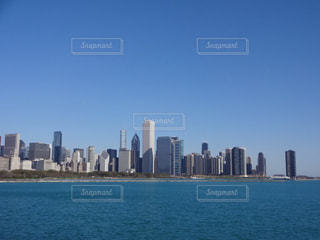 空,アメリカ,都会,シカゴ,快晴,海外旅行,青い,ビル群,ミシガン湖