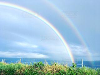 虹,沖縄,鮮やか,石垣島,ダブルレインボー,二重の虹