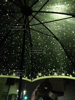 夜,雨,傘,屋外,星,梅雨