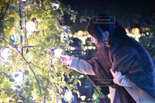 花型イルミネーションと女性の写真・画像素材[916814]