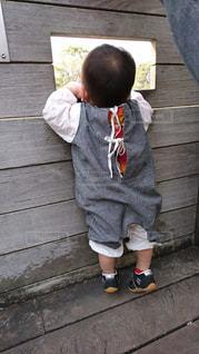 一生懸命に背のびする小さな男の子 - No.1047557