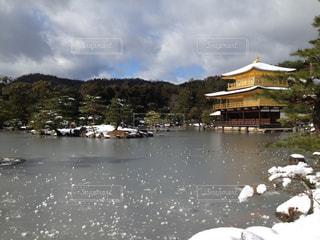 空,雪,屋外,京都,京都 金閣寺