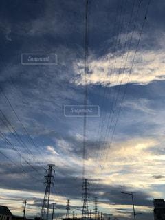 自然,風景,空,夕日,屋外,きれい,青,電柱