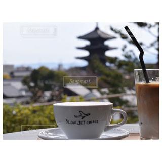 カフェ,京都,観光,五重塔,カフェラテ,スロージェットコーヒー