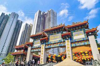 香港の青空と黄大仙のコラボ!の写真・画像素材[1102037]