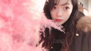クローズ アップ撮影、selfie ピンクの髪を持つ女性のの写真・画像素材[909063]