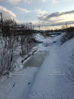 雪に覆われる川の写真・画像素材[915094]