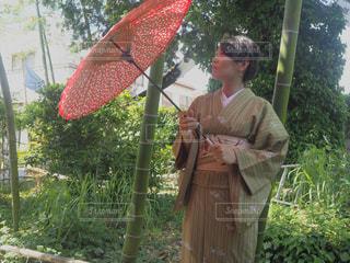 赤い傘を持っている人の写真・画像素材[1263152]