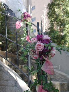 花,屋外,ピンク,フラワー,結婚式,フラワーアレンジ,ブライダル,アンスリウム,ウェデイング,ガーデンウェデイング