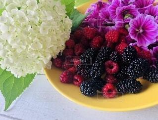 紫色の花を持つ食べ物の皿の写真・画像素材[4822679]