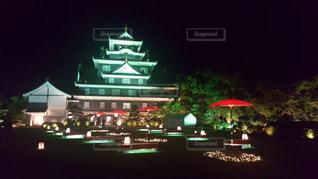 夜の岡山城の写真・画像素材[1014562]