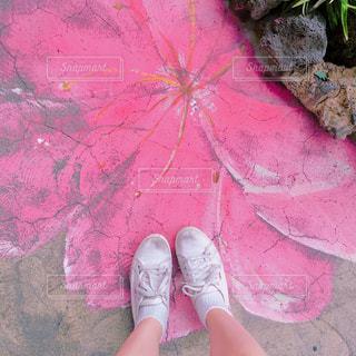 ピンクの傘を持つ少女の写真・画像素材[1822743]