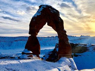 自然,雪,屋外,夕焼け,アメリカ,景色,アメリカン,国立公園,アーチーズ