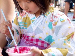 子ども,夏,デザート,浴衣,かき氷,カキ氷