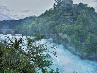 森の中の大きな滝の写真・画像素材[1448648]
