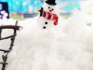 冬,雪,白,マフラー,枝,雪だるま,はしご,綿