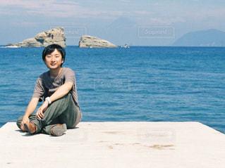 男性,自然,海,空,夏,水面,海岸,男子,人物,人,静岡