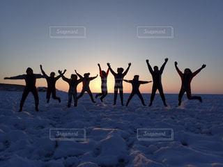 雪,ジャンプ,北海道,旅行,休日,流氷,お出かけ,連休