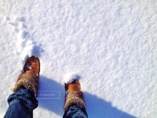 積もった雪の中、足跡つけるの写真・画像素材[933431]