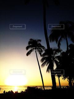 ハワイのワイキキビーチで夕日を見ている人々の写真・画像素材[970148]
