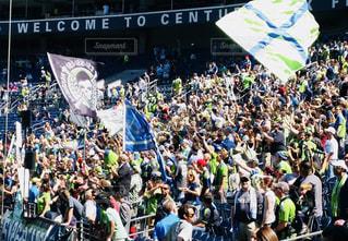 群衆,スポーツ,アメリカ,人,サッカー,フラッグ,シアトル,サポーター,休日,観戦,応援,熱気