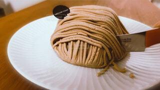 お取り寄せのモンブランケーキの写真・画像素材[4825797]