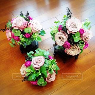 花,ピンク,バラ,パープル,グリーン,フラワーアレンジ