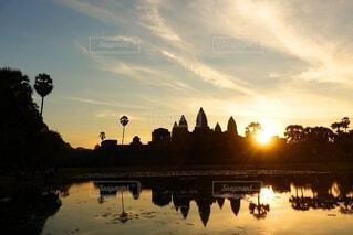 風景,空,海外,太陽,朝日,雲,綺麗,水面,旅行,正月,お正月,日の出,カンボジア,海外旅行,新年,初日の出