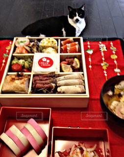 猫,赤,室内,白黒,おせち,おせち料理,テーブルクロス,お正月,元旦,お雑煮,重箱,市販,狙ってる,1人のお正月