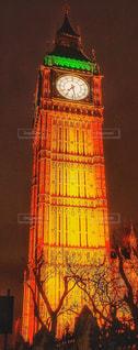 クロック タワーは夜ライトアップの写真・画像素材[937676]