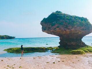 水の体の横にある砂浜のビーチの写真・画像素材[1316634]
