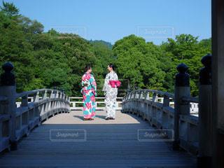 橋の近くのベンチに座っている人の写真・画像素材[1429490]