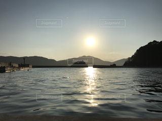 海,空,太陽,青,堤防,山