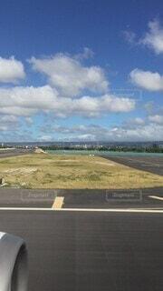 海,街並み,青,飛行機,飛ぶ,景色,離陸,滑走路,グアム,Sky