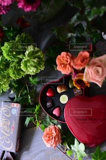 花,屋内,カラフル,フラワーアレンジメント,ハート,チョコレート,バレンタイン,自然光