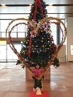 冬,子供,女の子,クリスマス,クリスマスツリー