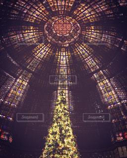 冬,イルミネーション,クリスマス,パリ,ステンドグラス,天井,クリスマスツリー,イリュミネーション