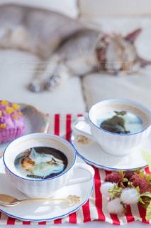 食品とコーヒーのカップのプレートの写真・画像素材[1483071]