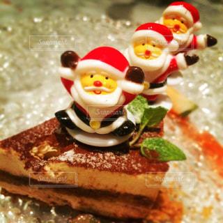 3人,食べ物,冬,ケーキ,クリスマス,サンタ