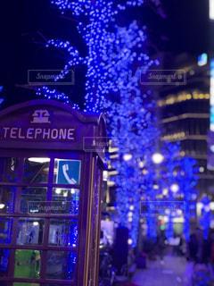 冬,夜,屋外,青,レトロ,イルミネーション,都会,オシャレ,クリスマス,渋谷,通り,電話ボックス