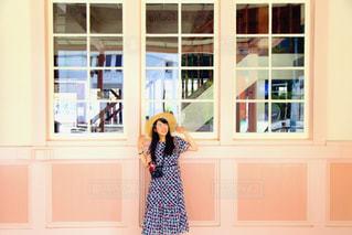 ピンクの駅舎の写真・画像素材[1335461]