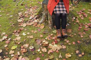 庭に立っている女性の写真・画像素材[851585]