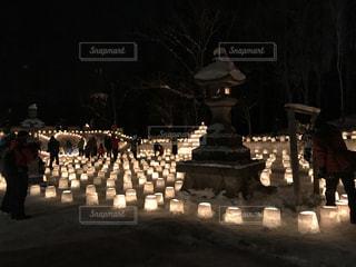 定山渓神社での雪灯路の写真・画像素材[994067]