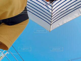 青と白の傘の写真・画像素材[1319285]