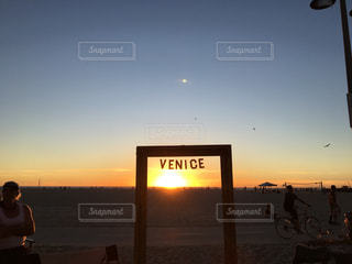 海,空,夕日,アメリカ,LA,ロサンゼルス,海外旅行,夕やけ,ベニスビーチ,VENISE